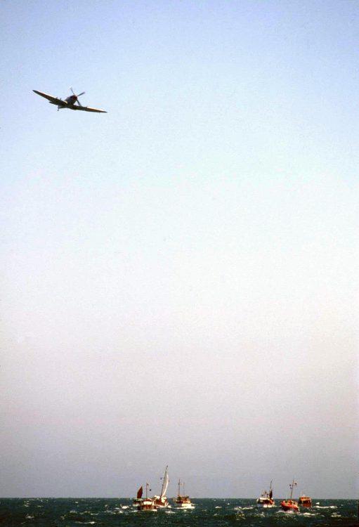 Spitfire flying over Dunkirk Little Ships