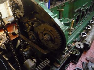 Front of Engine with timing chain removed.