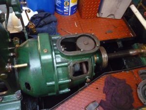 The gearbox partly stripped ready to be disconnected from engine.